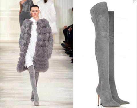 Ladies Fashion Brand Knee Suede Boots Women's Genuine Leather Platform Over Knee Thigh Spring/Autumn/winter High Heel Boots