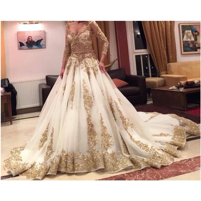 2016 latest mulsim wedding dress gold applqiues bridal for Wedding dresses in dubai prices