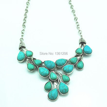 N18 Green Turquoise Stone Natural Stone Necklace Pendant Jewlery Women Vintage Look Tibet Alloy free shipping