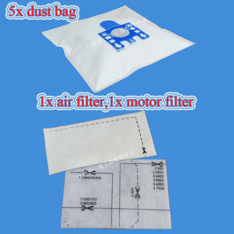 7 pcs(2x Hepa filter + 5x dust bag) Vacuum Cleaner Bags Dust Filter GN Bag for Miele S2110 S421I S456I S5261 S2111 S456I-2 S5280(China (Mainland))