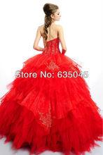 2015 New Custom Made Luxury Red Crystal Beading Applique Elegant Quinceanera Dress Vestidos De 15 Anos