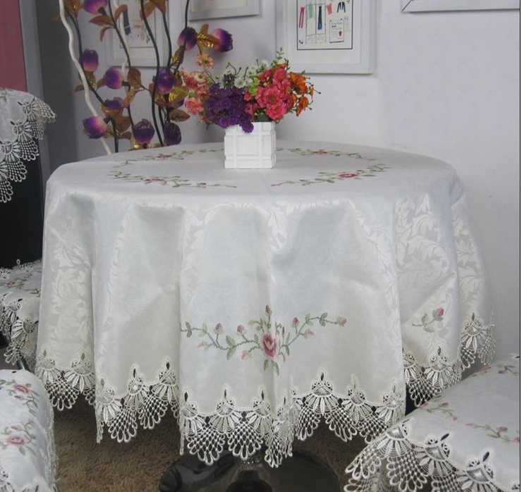 Hot Selling High Quality Round Elegant Jacquard Cross-stitch Embroidery Tablecloth Lace Embroidered Table Linen Cloth Covers(China (Mainland))