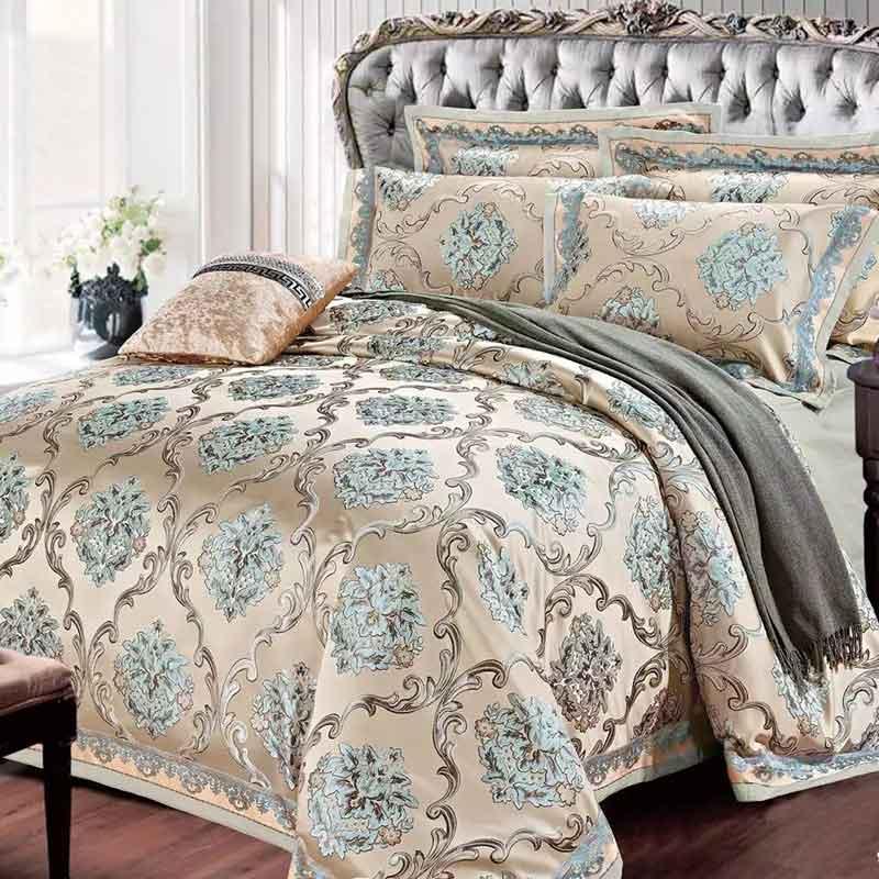 SILK PLACE Satin Luxury Bedding Set New Designer Cotton Bedding Sets Bed Sheet Jacquard Bedding Sets Duvet Cover(China (Mainland))