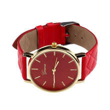 Creative 2015 Fashion Style Unisex Casual Geneva Watch Checkers Faux Leather Quartz Analog Wrist Watch