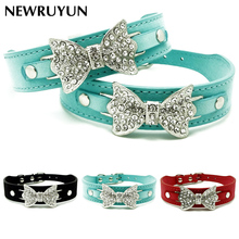 Buy Dog & Cat Collar Bling Crystal Bow leather Pet Collar Puppy Choker Cat Necklace Adjustable Rhinestone Size XS M for $2.76 in AliExpress store