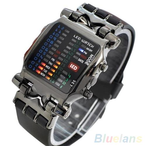 Гаджет  Unisex Binary LED Digital Date Square Dial Casual Sport Plastic Band Wrist Watch  None Ювелирные изделия и часы