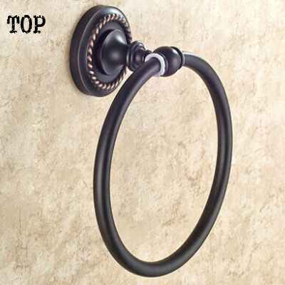 American towel ring All copper bathroom hardware accessories Black archaize towel ring towel rack