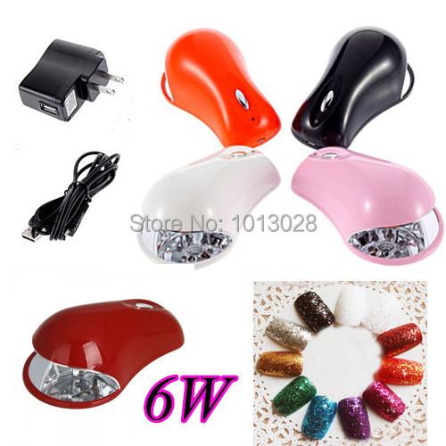 6W LED UV Lamp For Curing Nail Dryer Nail Gel Polish Dryer Curing Lamp Led Lamp for Nail Art Tools Mini Nail Dryer 110-220V(China (Mainland))