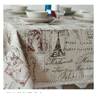 Eiffel Tower French linen tablecloths eco-friendly tea table cloth drape universal custom table cloth(China (Mainland))