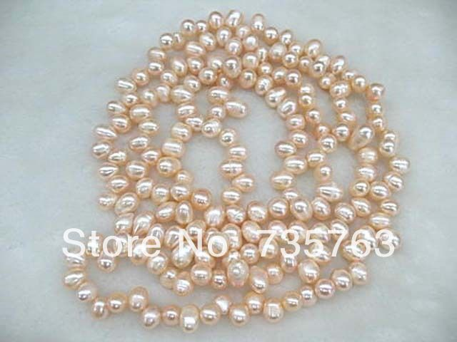 xiuli 001331 loop necklace pink freshwater pearl rice beads<br><br>Aliexpress