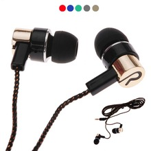 1.1m Wired Earphones Jack Standard Noise Isolating Reflective Cloth Line 3.5mm Stereo In-ear Earphone Earbuds Headphone with Mic