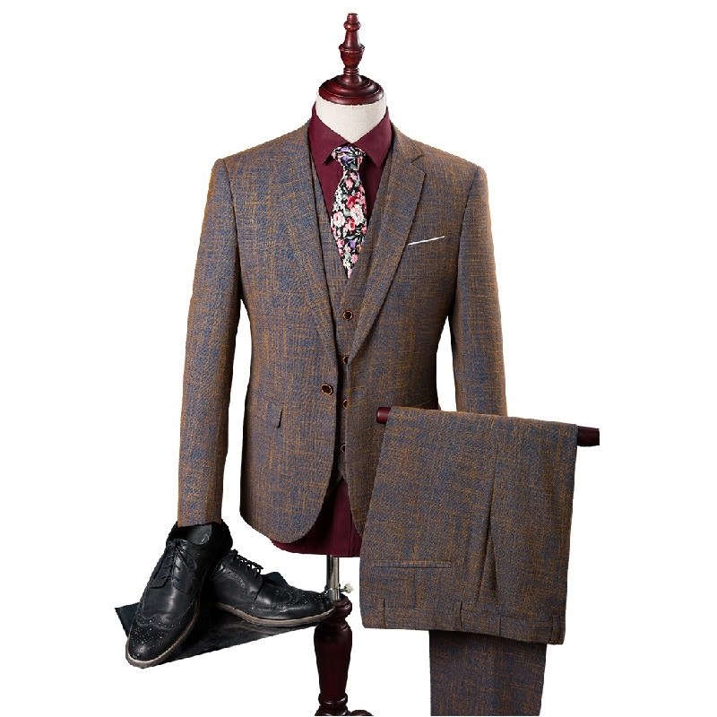 2016 new arrival High quality cotton brown suits men,wedding adress casual suit men,plus-size M,L,XL,XXL,XXXL,4XL,5XL(China (Mainland))