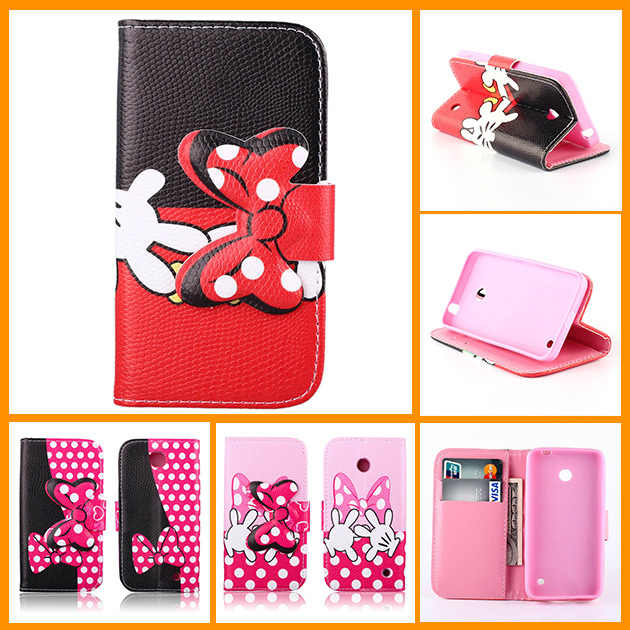 2014 New Wallet Flip PU Leather Phone Cover Case for Nokia Lumia 630 635 3D Cell Phone Pouch with Card Slot Stand TPU Case(China (Mainland))