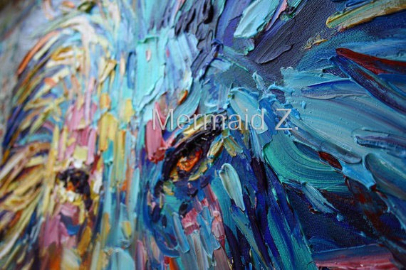 Buy Lion Painting Abstract Art Animal original oil on canvas palette knife heavy textured technique ready to hang Thick Oil Painting cheap