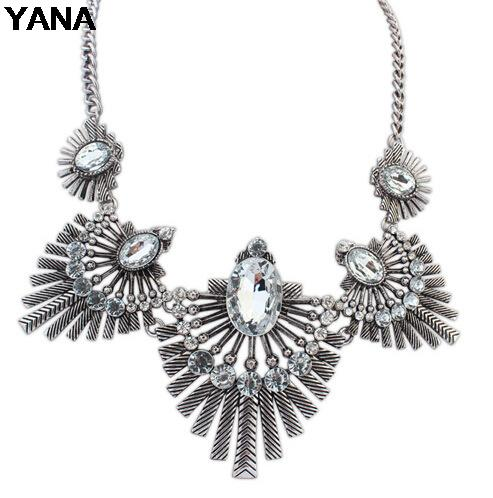 YANA Jewelry 4 Colors Fashion Vintage Geometry Choker Necklaces Statement rhinestone Necklaces pendants For Woman 2015