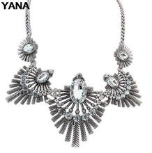 YANA Jewelry 4 Colors Fashion Vintage Geometry Choker Necklaces Statement rhinestone Necklaces & pendants For Woman  2015 New(China (Mainland))