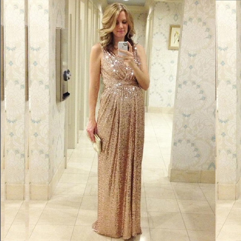 2016 rose gold bridesmaids dresses sequins plus size for Maid of honor wedding dresses