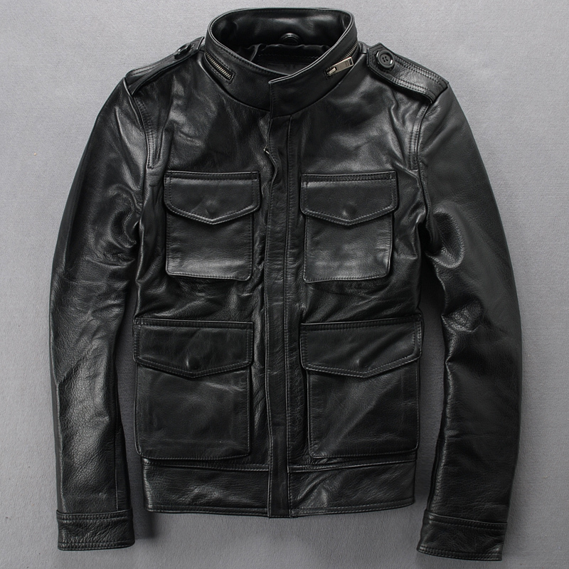 Leather leather Slim Stand collar Multi-pocket Leather clothing Calfskin Locomotive Short leather jacket M65 Hunting(China (Mainland))