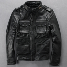 Leather leather Slim Stand collar Multi-pocket Leather clothing Calfskin Locomotive Short leather jacket M65(China (Mainland))