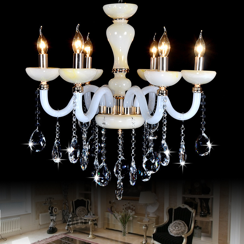 Modern led chandelier imitation jade crystal chandeliers for Modern crystal chandelier for dining room