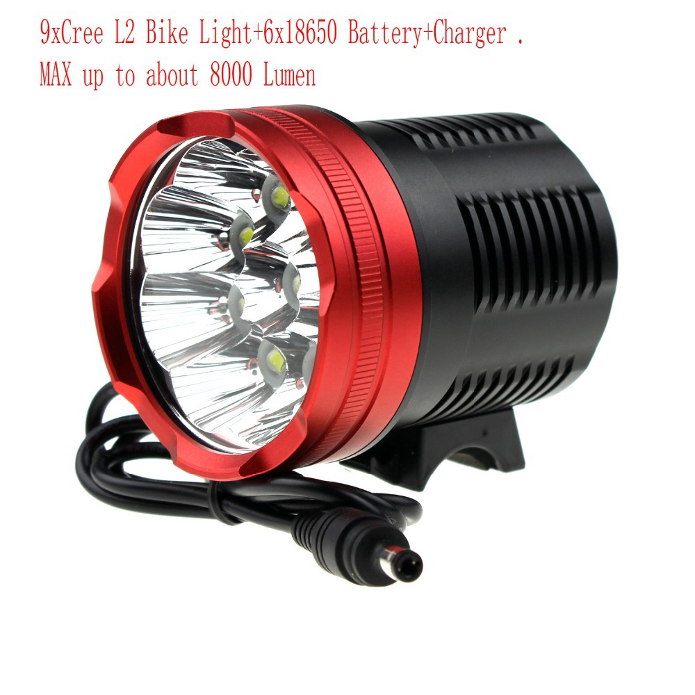 Фара для велосипеда Bicycle Lights 9 9 * 5 8000 Cree Xm/l2 + 6 X 18650 + 9L2