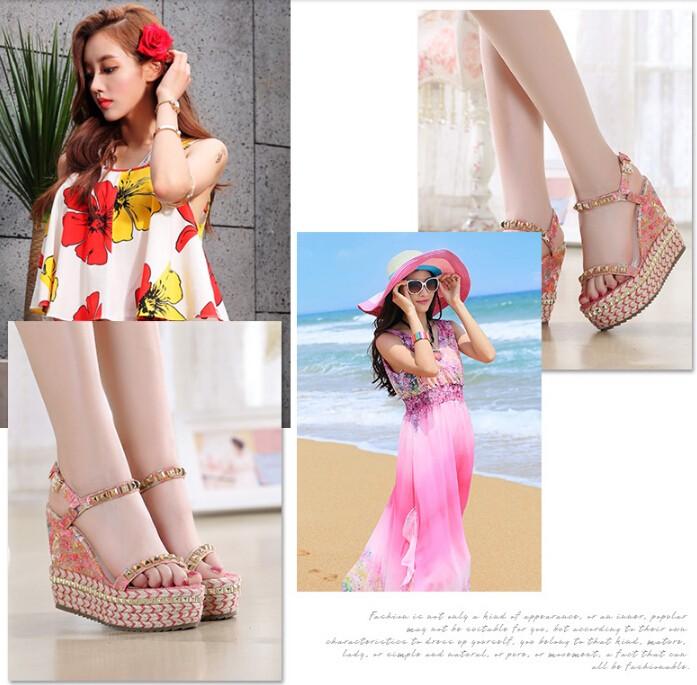Size 34-39 New Arrival 2016 Summer Shoes Elegant Flower Platform Transparent Lady Wedge Shoes High Heel Sandals LADY SHOES B036