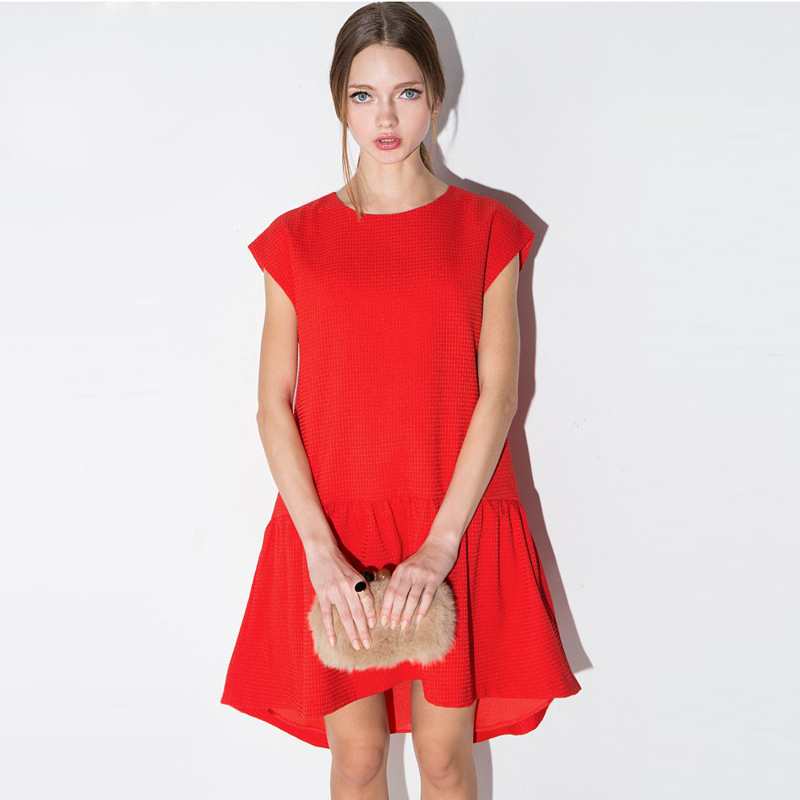 2016 Summer Women Dresses Sexy O-neck Red Dress Casual Short Sleeve Draped Mini New Fashion Ladies Vestidos HD1781(China (Mainland))