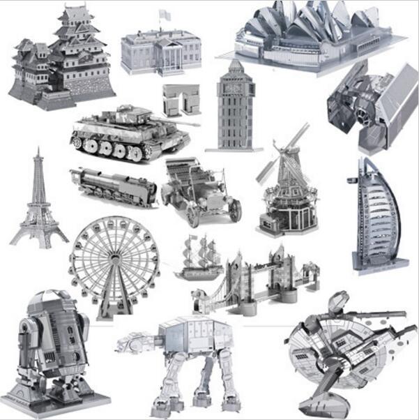 3D puzzle metal jigsaw for kids star wars/big ben/eiffel tower/black pearl/tractor /car/tank/airplain/castle juguetes educativos(China (Mainland))