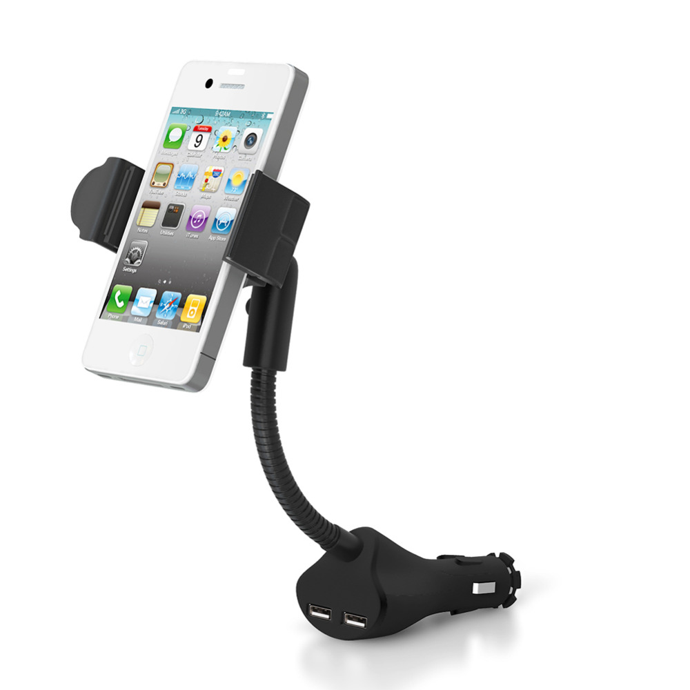 1 PC Universal On-board Hands-Free Dual USB Ports Support Stand for Smart Phone Car Charger(China (Mainland))