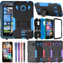 4in1 For Nokia Lumia 630 635 Hybrid Tri-Layer Tuff Armor Case+stylus +3X Flim Stand Shockproof Cover Skin With Belt Clip(China (Mainland))
