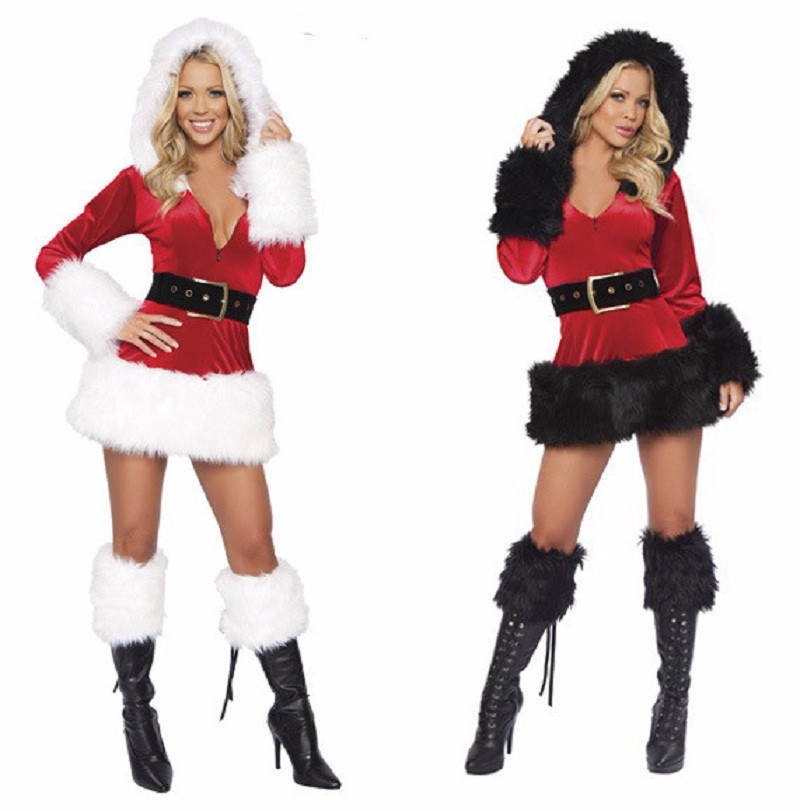 2016 Hooded Santa Claus Dress Adult Dress Sexy Unique Christmas Clothes Women Dress Costume Winter Party Dress Cosplay Suit