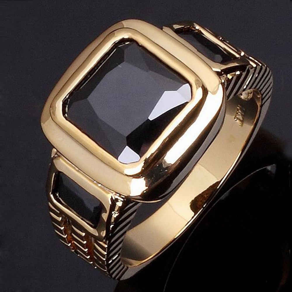 Wholesale Fashion super AAA zircon Jewelry Male Gold Ring Black Sapphire Men rings 18K Gold plated men finger Ring R048(China (Mainland))