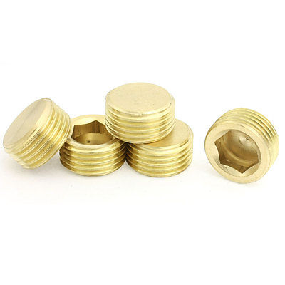 "1/2"" PT Thread Metal Internal Hex Head Socket Pipe Plugs Gold Tone 5 Pcs(China (Mainland))"