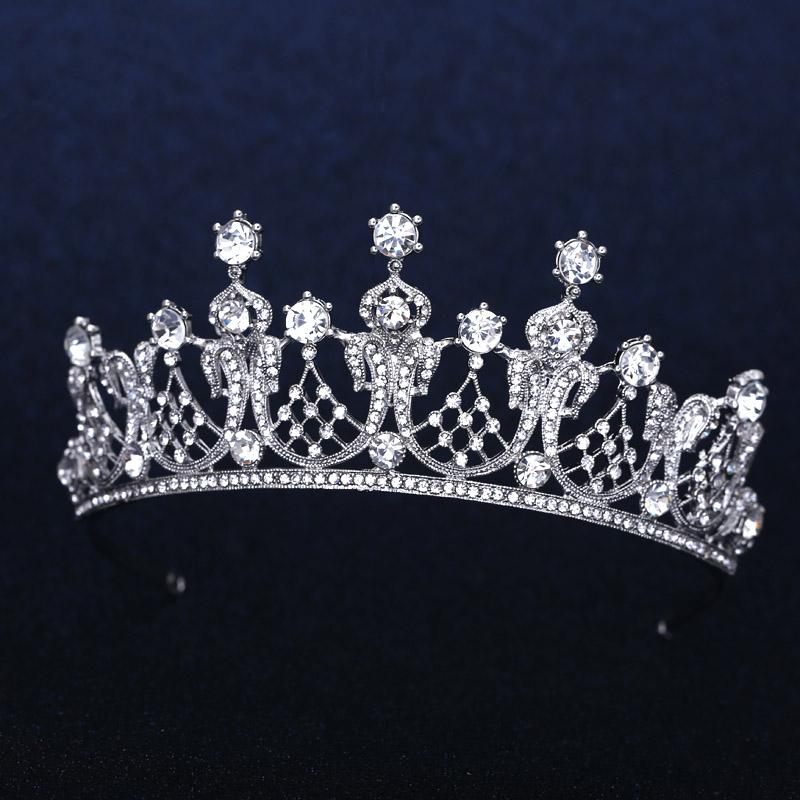 Wedding Bridal Bridesmaid Flower Girls white plated crystal tiara crown / headband For Prom(China (Mainland))