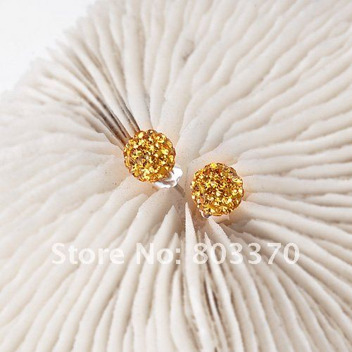 925 silver crystal earrings Gold color Lady Jewelry Round Ball Free shipping Buy 2 Get 1 Free(China (Mainland))