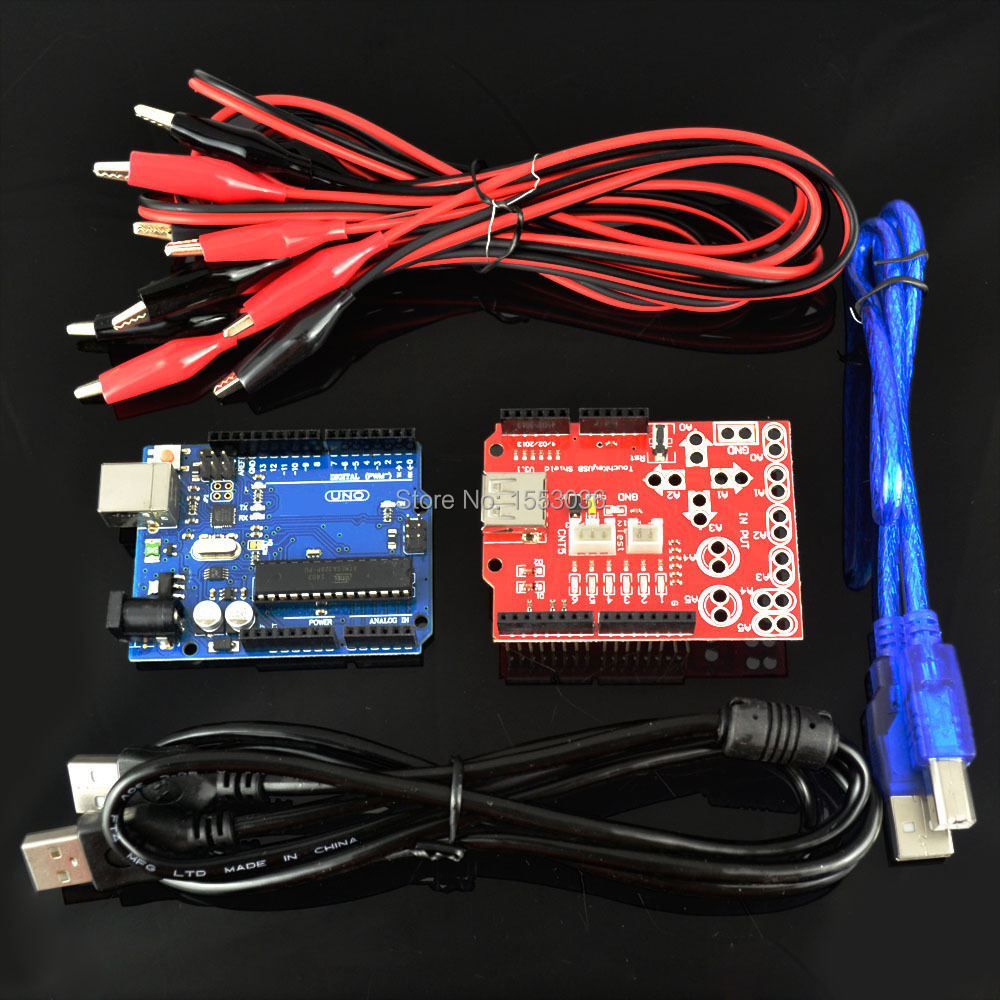 5pcs/lot Electronic kit of New Makey analog touch keyboard kit uno r3 board touch key USB shield crocodile clip for Arduino(China (Mainland))