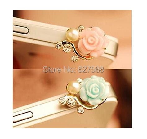 $1 (mini order) Romantic Pearl Roses Dustproof Plug Mobile Phone Dust Plug Sweet Girls Phone Pendants AEP04(China (Mainland))