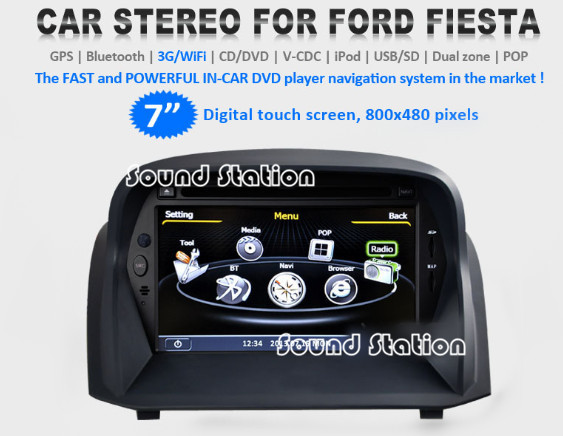 For Ford Fiesta 2009 2010 2011 2012 2013 Car DVD GPS Navigation Media Center Audio Stereo Receiver Multimedia Radio System(China (Mainland))