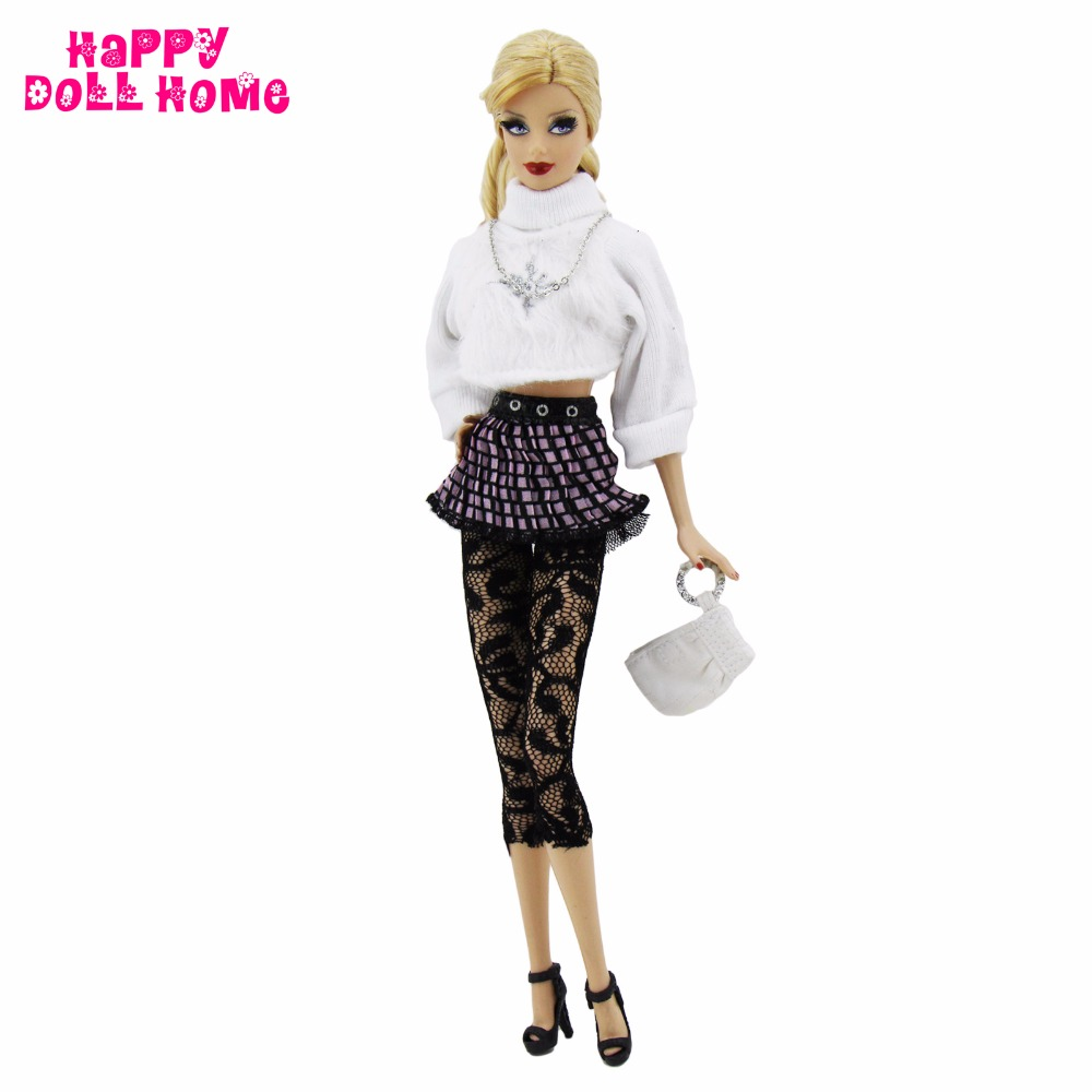 Vogue Girl Outfit Handmade Informal Put on White Wool Tops Pants Stocking Purse Shoe Excessive High quality For Barbie Doll Garments Presents