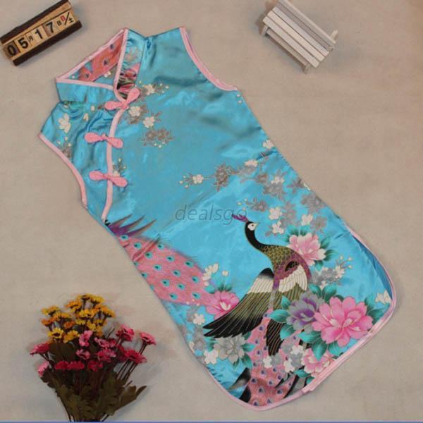 Retro Kid Child Girls Baby Chinese Peacock Cheongsam Dress Qipao 2-8Y Clothes(China (Mainland))