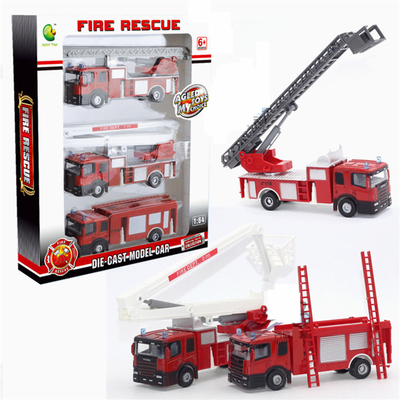 3PCS High Quality Alloy Plastic Model Toy Aerial Rescue Fire Truck Taxied Kids Educational Cheap dinky Toys Christmas Gift jouet(China (Mainland))