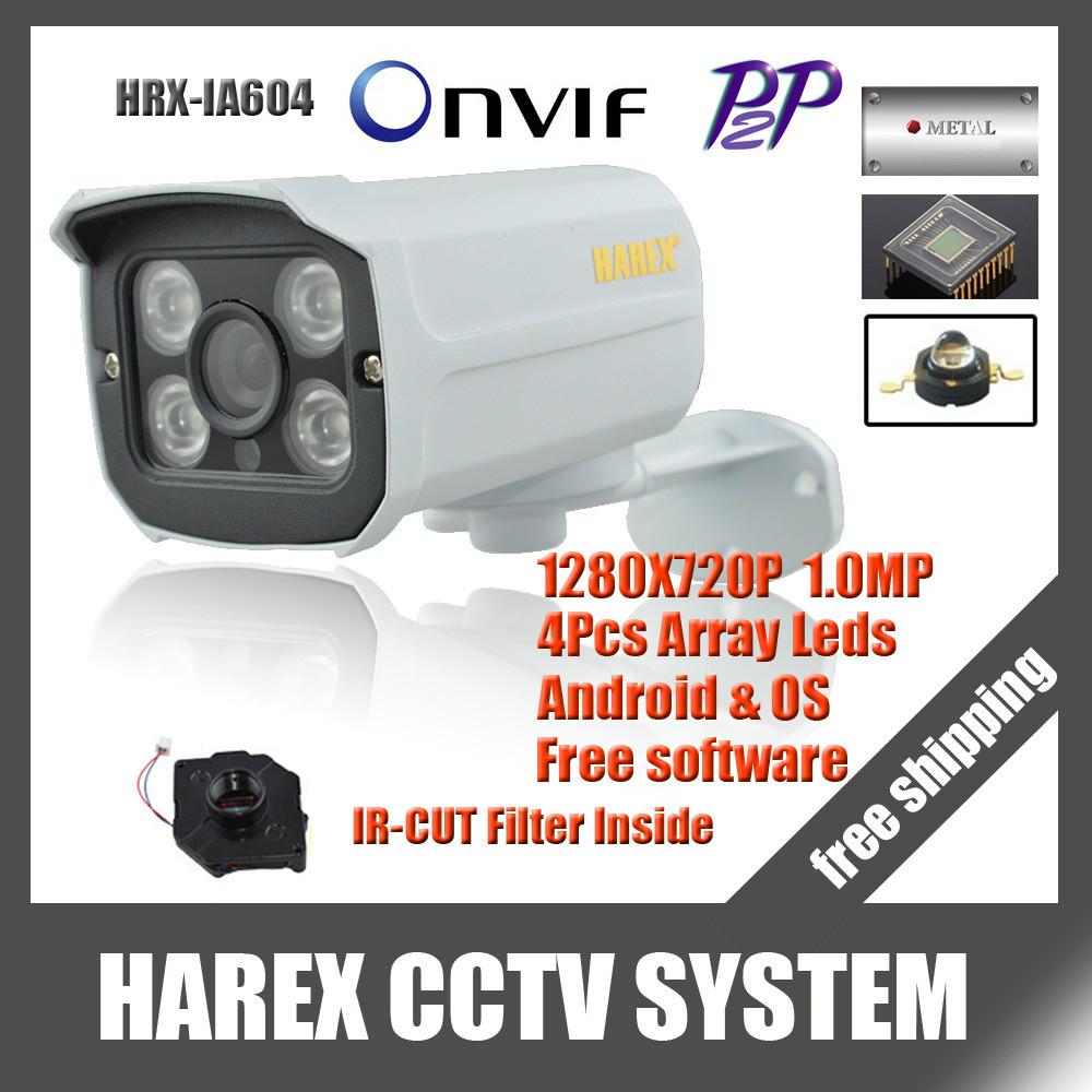 1280*720P 1.0MP 4pcs array leds IP Camera ONVIF 2.0 Waterproof Outdoor IR CUT Night Vision P2P Plug and Play, free shipping(China (Mainland))