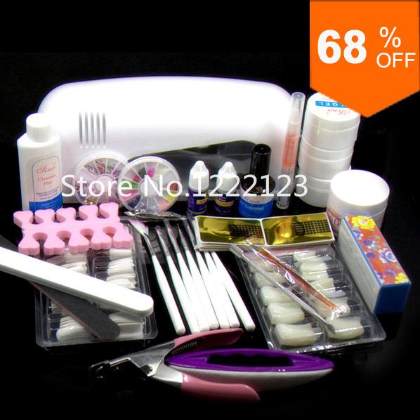 Nail Art Starter Kit: Pro Nail Art UV Gel Kits Tool UV Lamp Brush Remover Nail
