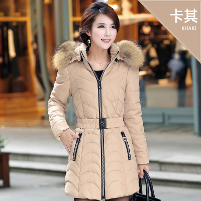 Фотография Free shipping 2016 plus size clothing wadded jacket medium-long thickening khaki cotton-padded jacket L-5XL for 100 kg