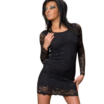 CPAM Free Shipping New Open Long Sleeve At Back Sexy Clubwear  Women Clubbing KTV Costume Bow Black Fashion Lace Dress