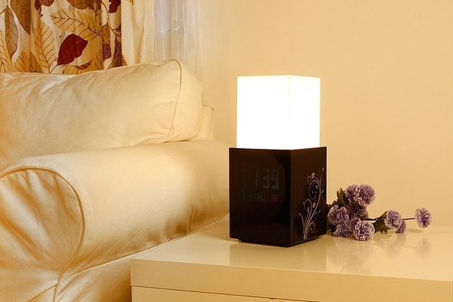 Novelty LCD Touch Alarm Clock Lamp Light control Lift Design Date desk clock table lamp bedroom lamp Decorative lights
