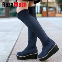Cuñas de las mujeres sobre la rodilla botas damas botas militares moda bota de la nieve caliente calzado zapatos de invierno ladies sexy P19505 tamaño 32-43(China (Mainland))