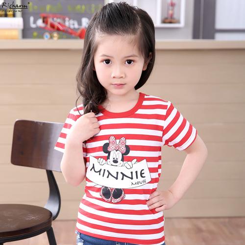 Mini Rodini Kids Summer Slim Top Mickey Unsex T shirt Minnie Mouse Boys Girls Clothes T Shirts Cotton Short Sleeve Tee Shirt(China (Mainland))