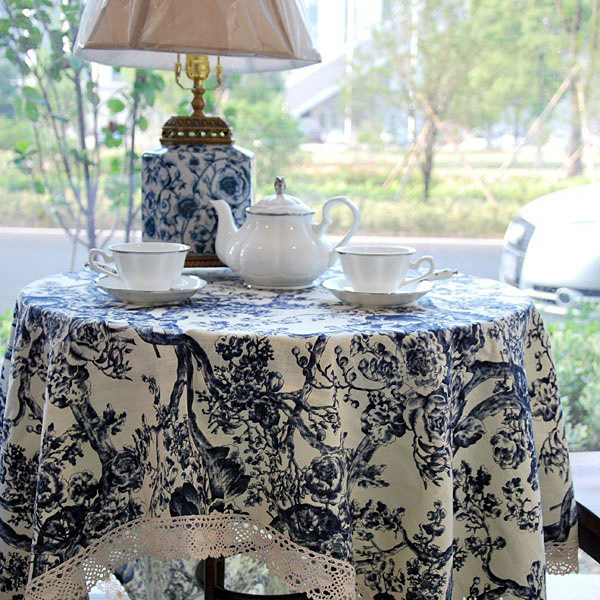 Classic Chinese Style Linen Tablecloth Chinese Blue and White Porcelain Waterproof Table Cloth Plain Dyed Rectangle Tablecloth(China (Mainland))