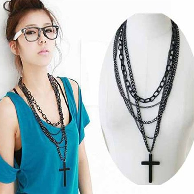 Fashion Jewelry Classic Multilayer CROSS Pendant Religious Bijioux Long Chain Black Cross Pendant Sweater Necklace Women Lady(China (Mainland))